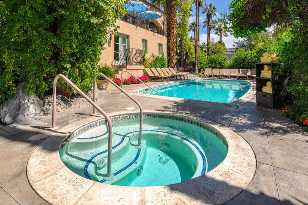 A dip in the pool of our Palm Springs Hotel may just be the thing after a day on the trails at Indian Canyons in Palm Springs.